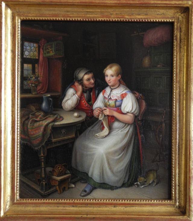 CKaltenmoser-Das-Liebeswerben-junges-Paar-in-der-Stube-Öl-auf-Kupfer-1833-